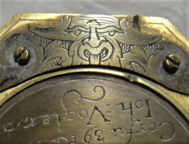 Detail of engraving on equatorial dial, brass, made by Johan Georg Vogler, Germany, 1700-1750.