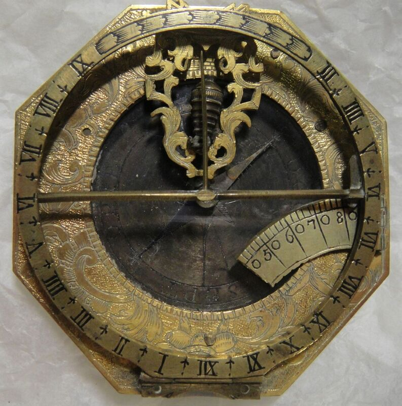 Equatorial dial, brass, made by Johan Georg Vogler, Germany, 1700-1750.